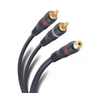 Cable jack RCA a 2 plug RCA de 15 cm con conectores dorados