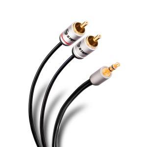 Cable ultra delgado plug 3,5 mm a 2 plug RCA de 1,8 m