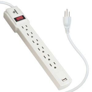 Tira multicontactos de 6 salidas con cargador USB