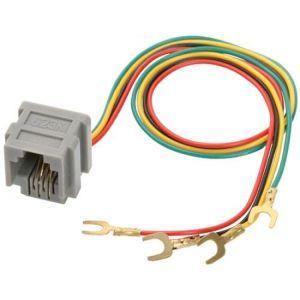 """Jack RJ11 con 4 contactos y cables con terminales tipo """"U"""""""