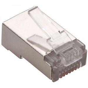 Plug blindado RJ45 de 8 contactos FTP o STP CAT 5e, para cable redondo