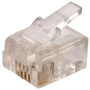 Plug telefónico modular RJ11 de 4 contactos para cable redondo